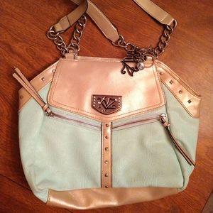 Kathy Van Zeeland mint green gold purse
